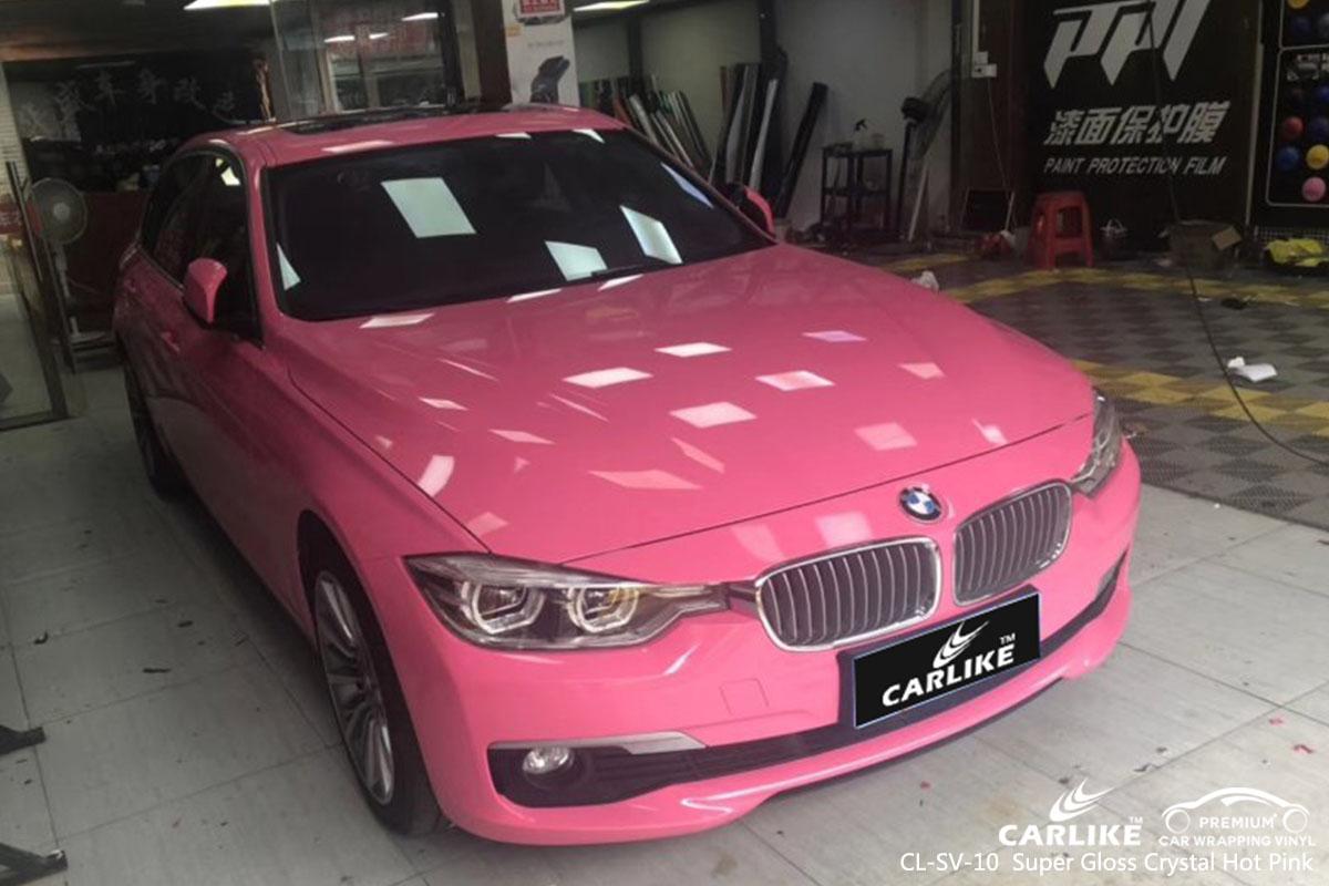CL-SV-10 Super Gloss Crystal Hot Pink car wrap vinyl for BMW
