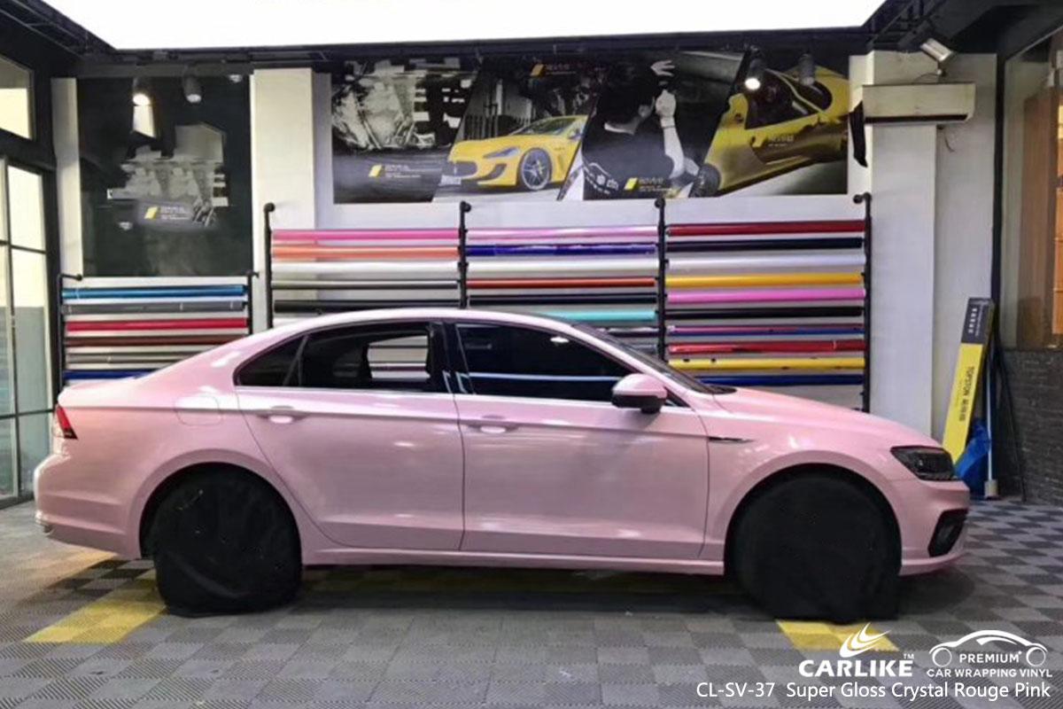 CL-SV-37 Super Gloss Crystal Rouge Pink car wrap vinyl for Volkswagen