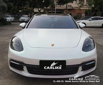 CL-AW-01 Vinilo envolvente para automóvil Aurora blanco mate a rojo mate para Porsche