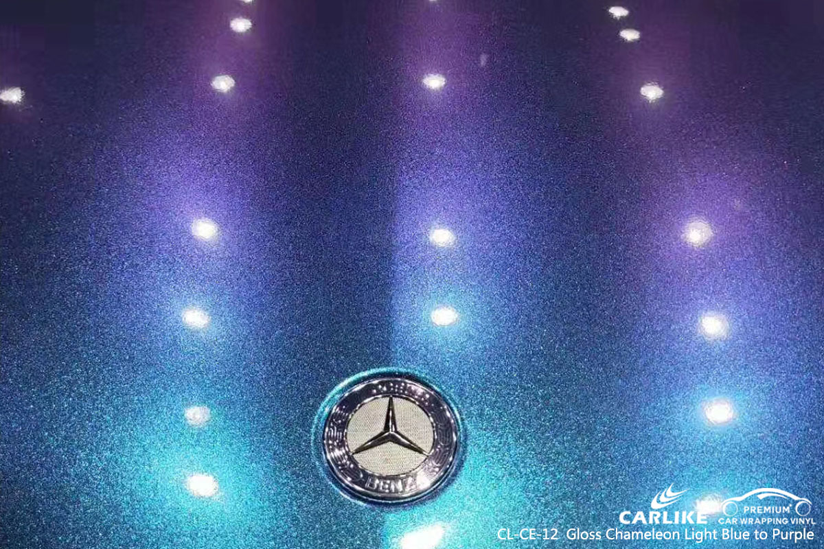 CL-CE-12 Gloss Chameleon Light Blue to Purple car wrap vinyl for Benz