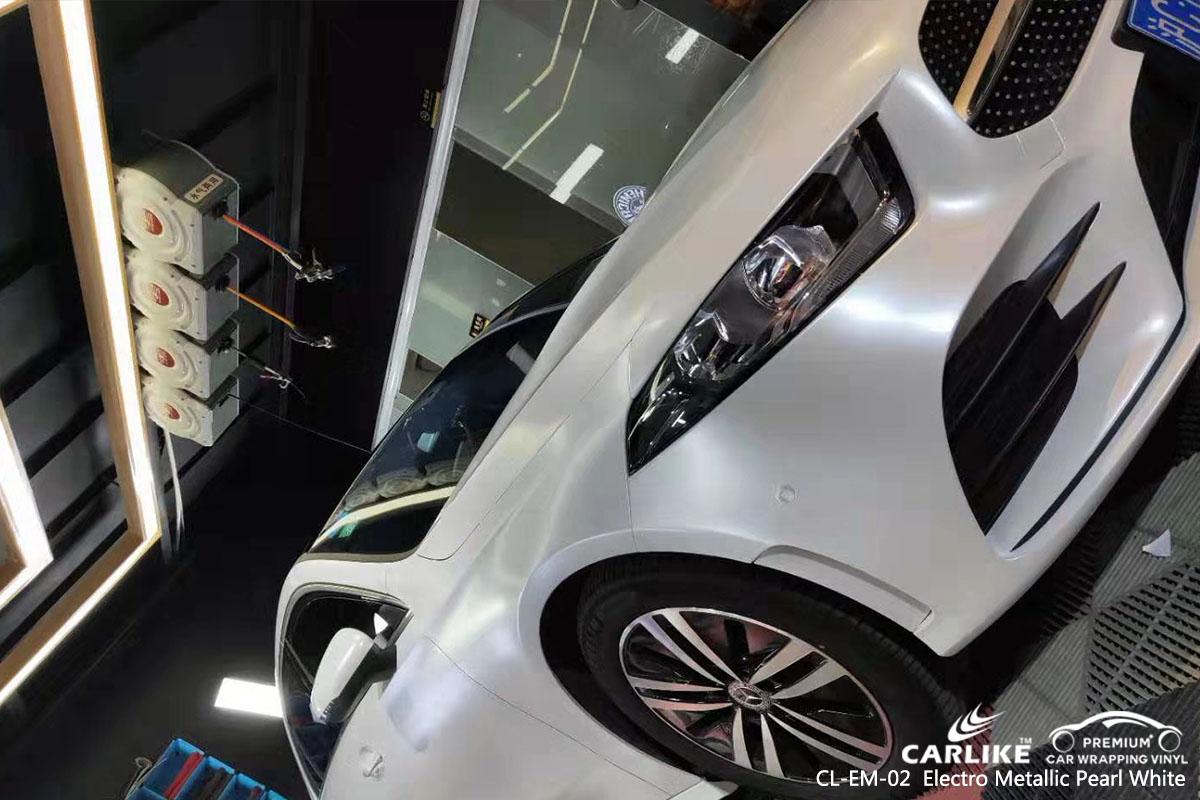 CL-EM-02 Electro Metallic Pearl White car wrap vinyl for Benz
