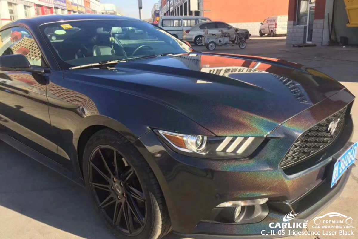 CL-IL-05 Iridescence Laser Black car wrap vinyl for Mustang