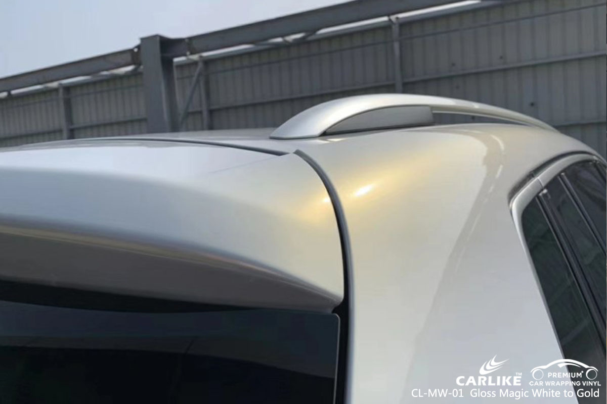 CL-MW-01 Gloss Magic White to Gold car wrap vinyl for Volkswagen