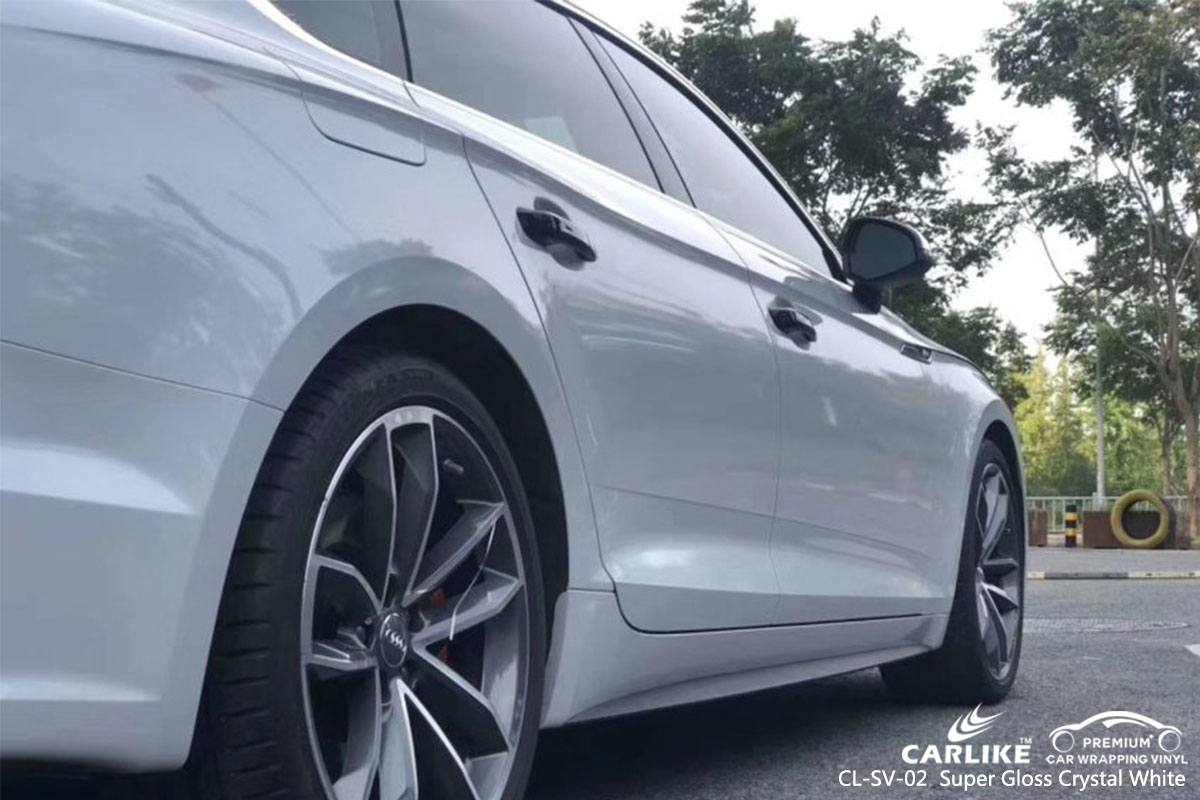 CL-SV-02 Super Gloss Crystal White car wrap vinyl for Audid