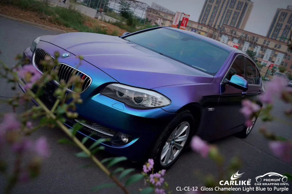 CL-CE-12 Gloss Chameleon Light Blue to Purple car wrap vinylfor BMW