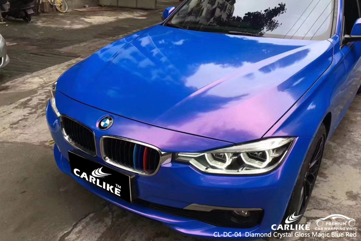 CL-DC-04 Diamond Crystal Gloss Magic Blue Red car wrap vinyl for BMW