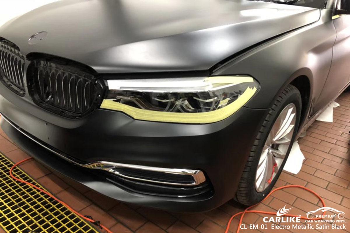 CL-EM-01 Electro Metallic Satin Black car wrap vinyl for BMW