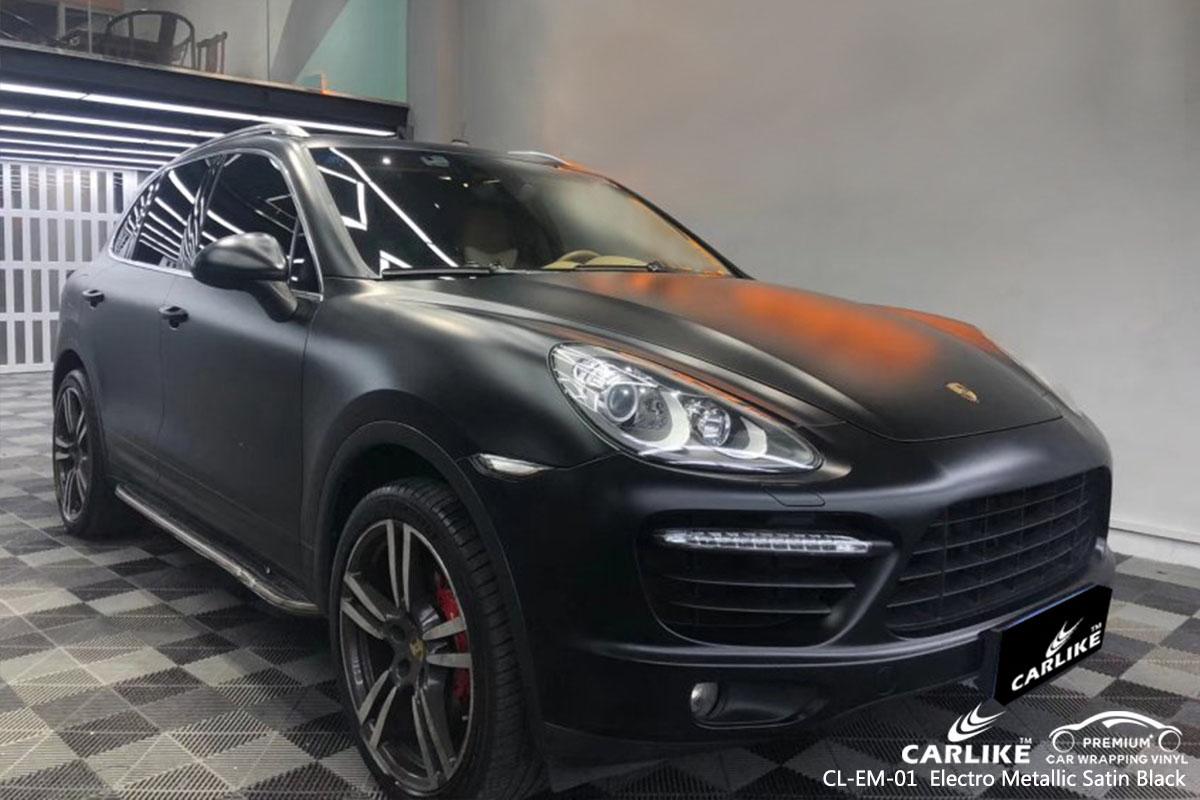 CL-EM-01 Electro Metallic Satin Black car wrap vinyl for Porsche