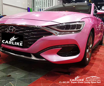 CL-GC-10 Super Gloss Candy Rose Red car wrap vinyl for Hyundai
