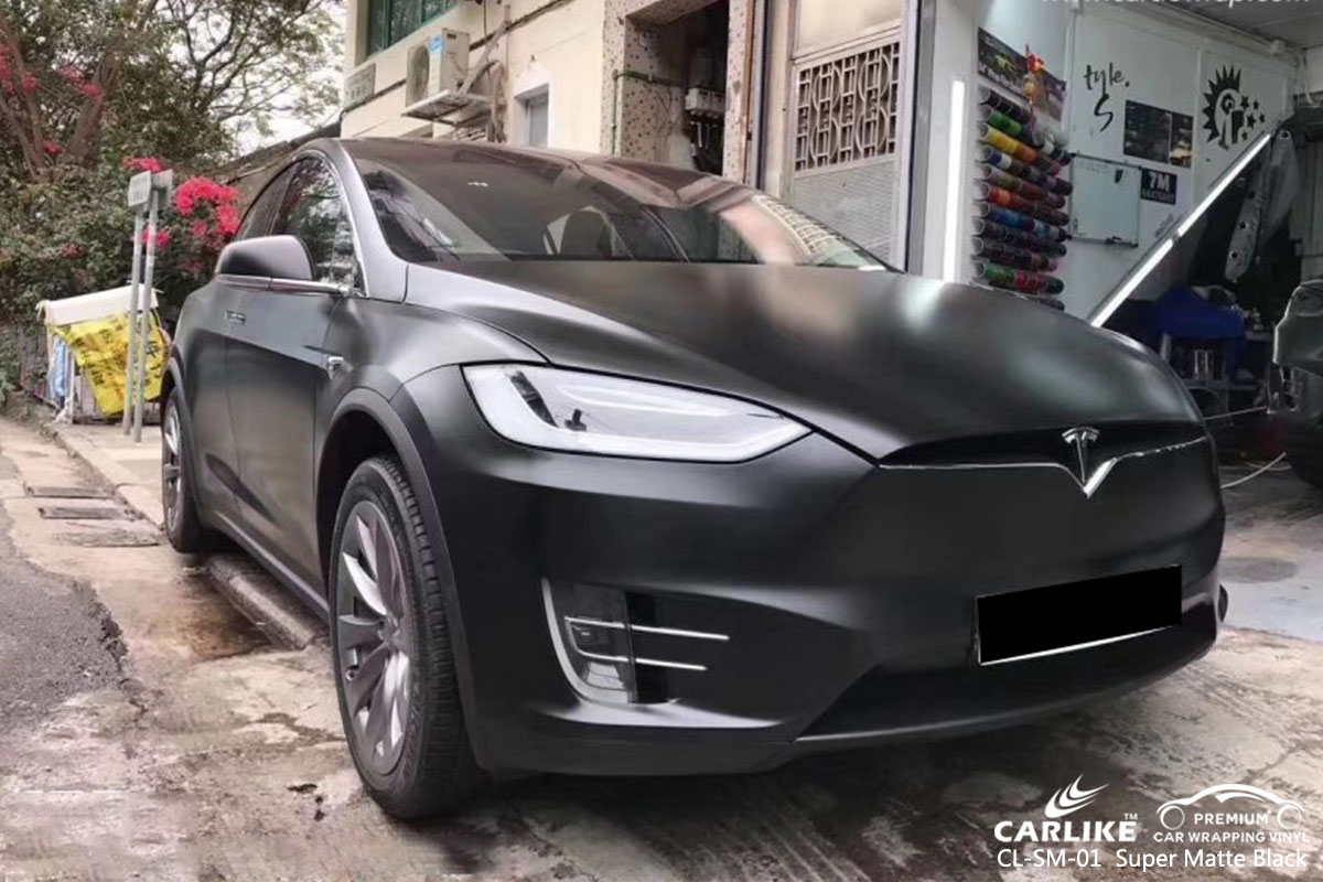 CL-MS-01 Super Matte Black car wrap vinyl for Tesla