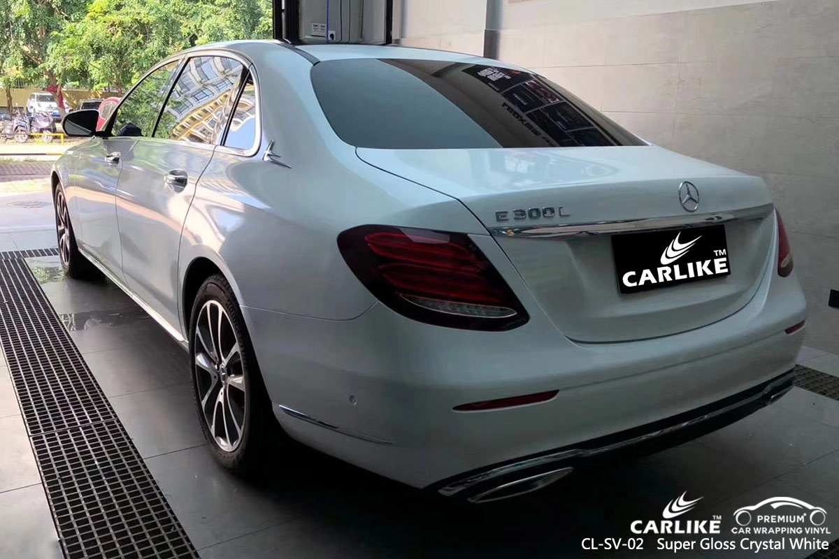 CL-SV-02 Super Gloss Crystal White car wrap vinyl for Benz