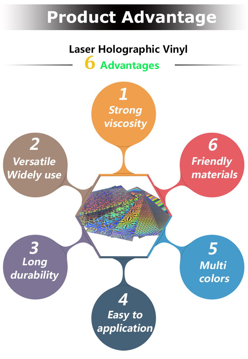 Holographic Laser Rainbow Self Adhesive Vinyl Film