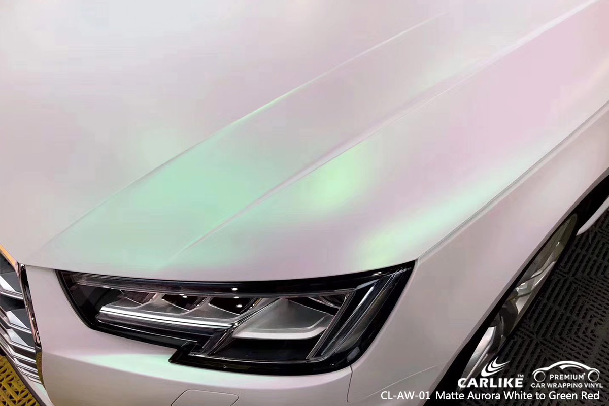 CL-AW-01 matte aurora white to green red car vinyl wrap for AUDI Timor-Leste