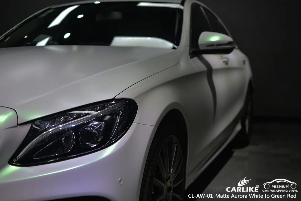 CL-AW-01 matte aurora white to green red car wrap vinyl for MERCEDES-BENZ