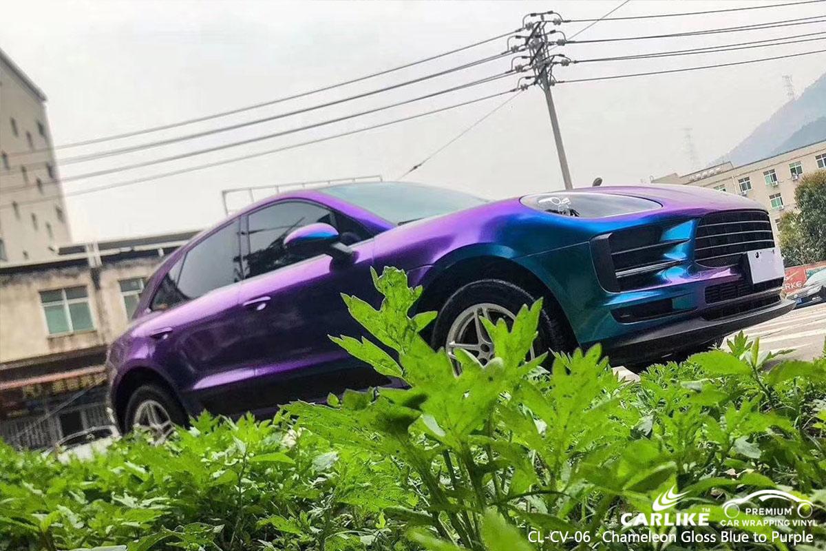 CL-CV-06 chameleon gloss blue to purple car wrap vinyl for PORSCHE