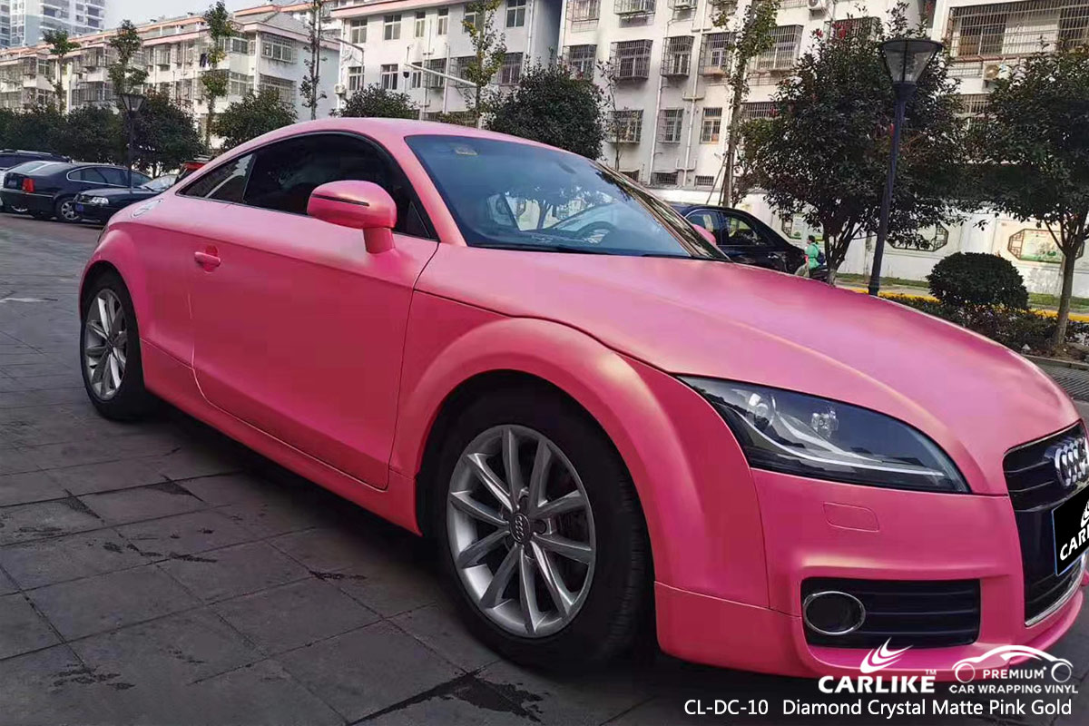 CL-DC-10 diamond crystal matte pink gold car vehicle wrapping for AUDI Faroe Islands