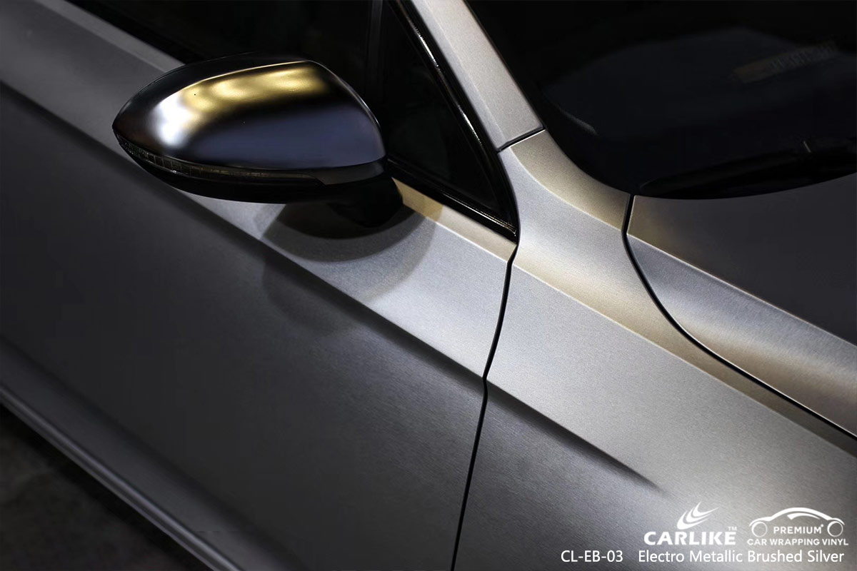 CL-EB-03 electro metallic brushed silver car wrap vinyl for VOLKSWAGEN