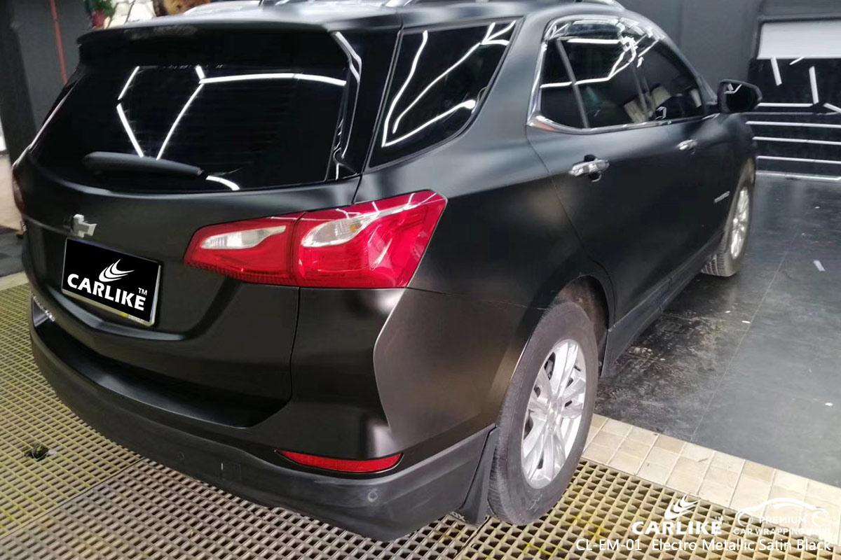 CL-EM-01 electro metallic satin black car wrap vinyl for CHEVROLET