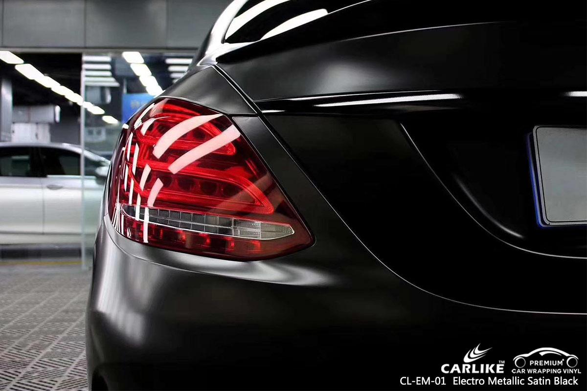 CL-EM-01 electro metallic satin black car wrap vinyl for MERCEDES-BENZ