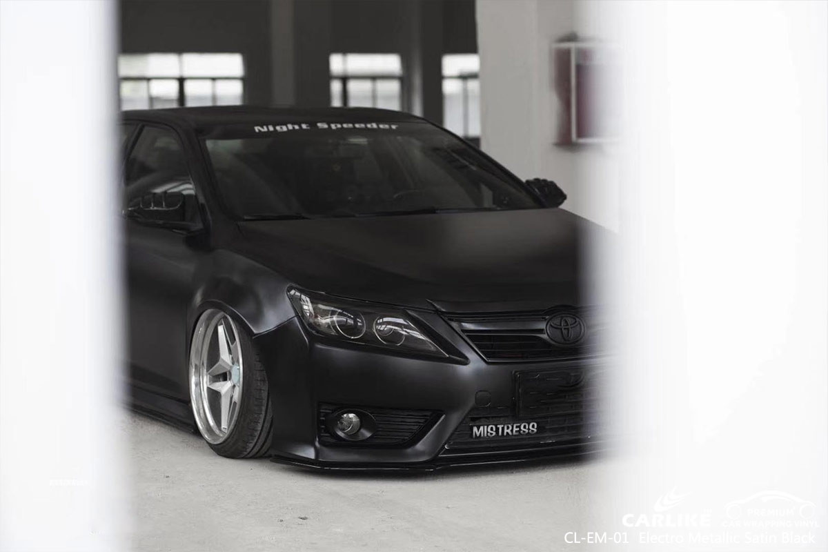 CL-EM-01 electro metallic satin black car wrap vinyl for TOYOTA