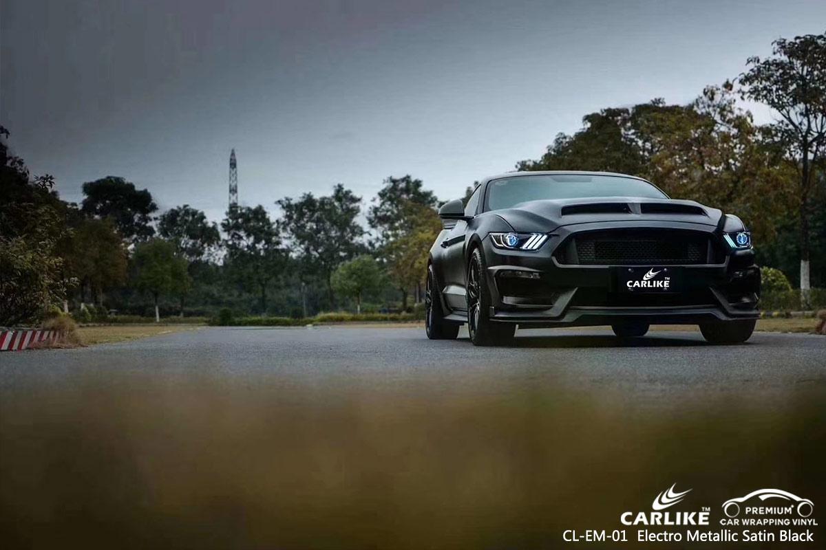 CL-EM-01 electro metallic satin black car wrap vinyl for FORD MUSTANG