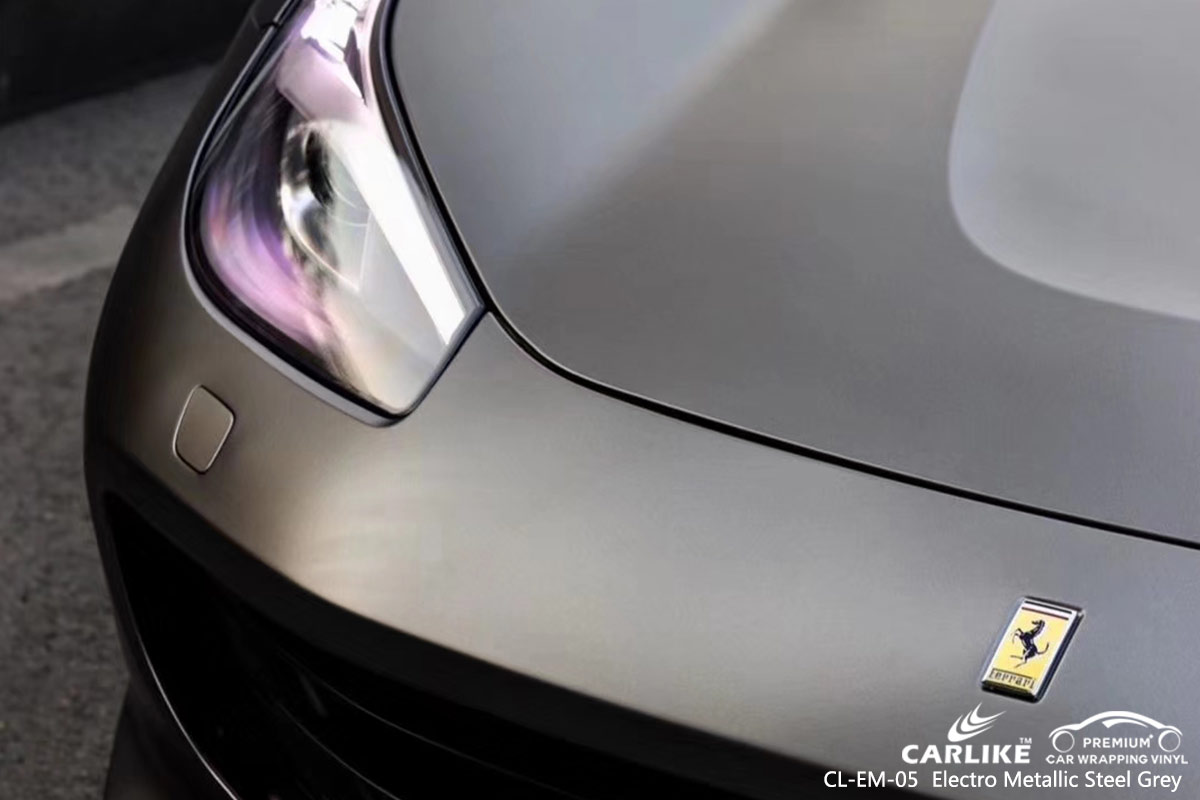CL-EM-05 electro metallic steel grey car wrap vinyl for FERRARI