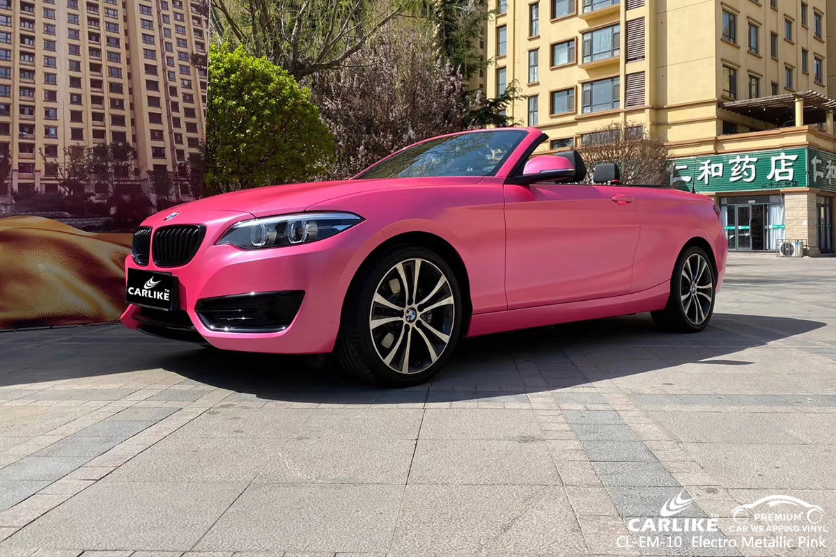 CL-EM-10 electro metallic pink car wrap vinyl for  BMW