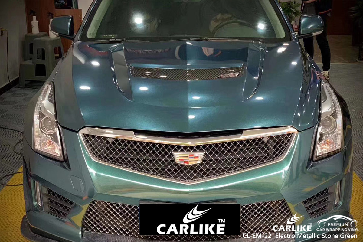 CL-EM-22 electro metallic stone green car wrap vinyl for CADILLAC