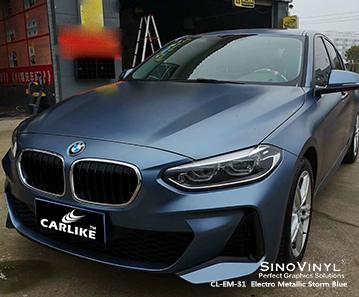 CL-EM-31 vinile metallizzato blu metallizzato per auto avvolgente per BMW India