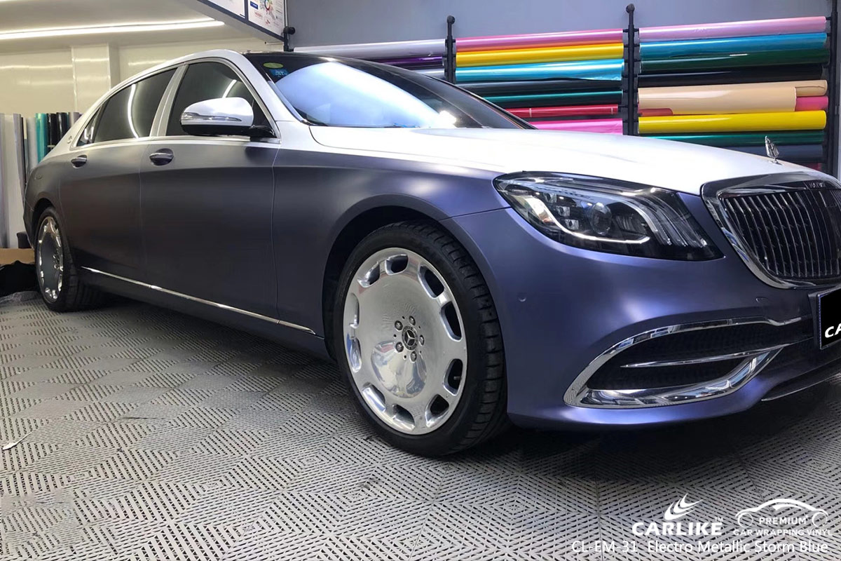 CL-EM-31 electro metallic storm blue car wrap vinyl for MAYBACH