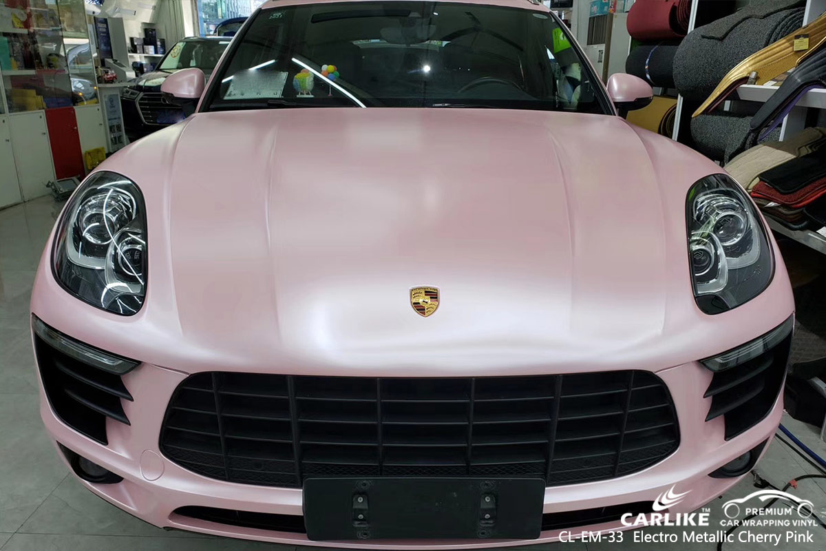 CL-EM-33 electro metallic cherry pink car wrap vinyl for PORSCHE