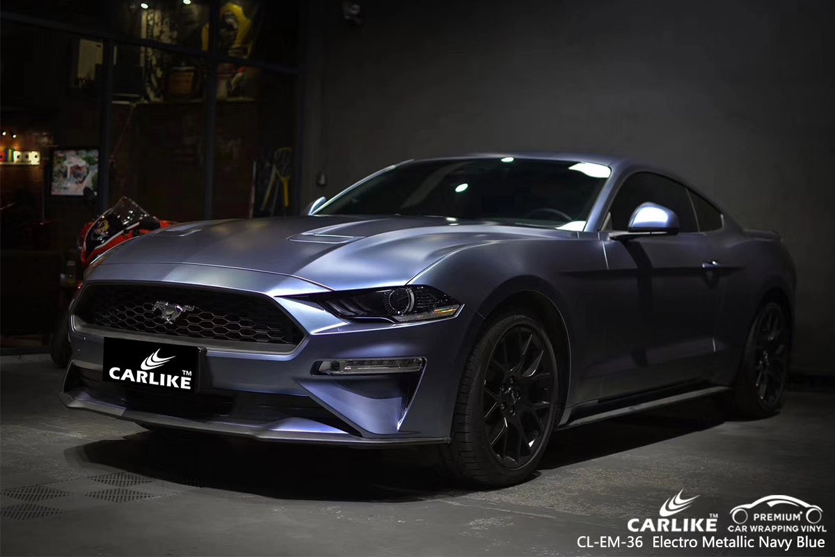 CL-EM-36 electro metallic navy blue car wrap vinyl for  FORD MUSTANG