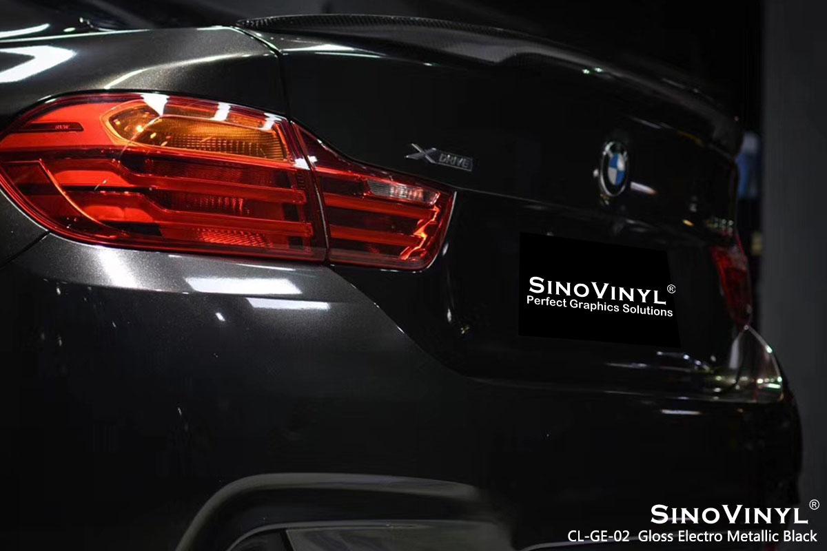 CL-GE-02 Gloss Electro Metallic Black car wrap vinyl for BMW