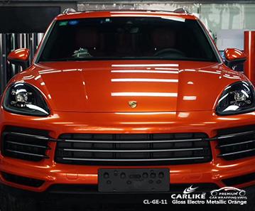 CL-GE-11 glänzende elektrometallische orangefarbene Autoverpackungsfolie für PORSCHE Liechtenstein