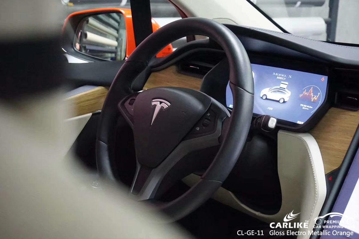 CL-GE-11 gloss electro metallic orange car vinyl wrap gloss for TESLA Montserrat