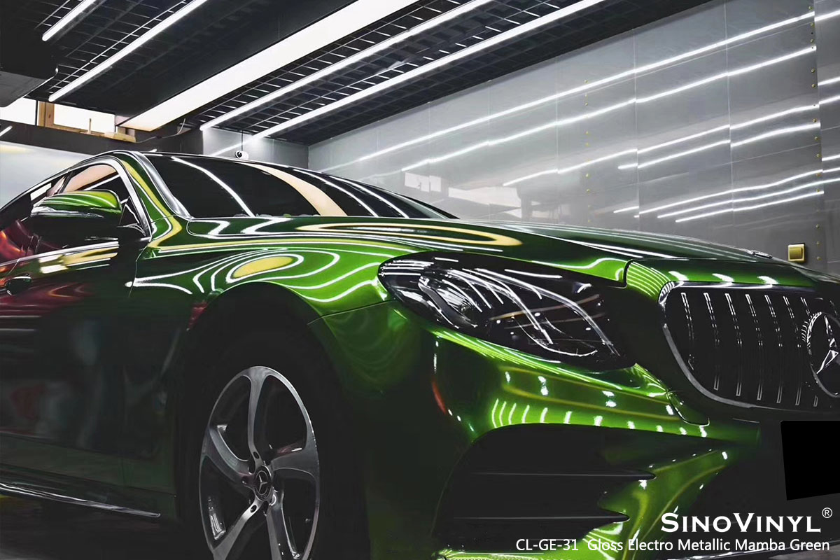CL-GE-31 Gloss Electro Metallic Mamba Green car wrap vinyl for Benz