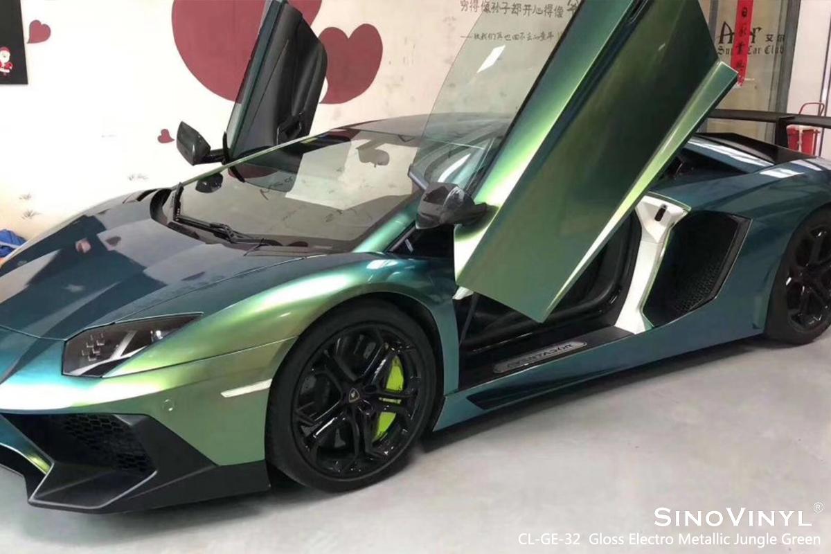 CL-GE-32 Gloss Electro Metallic Jungle Green car wrap vinyl for Lamborghini