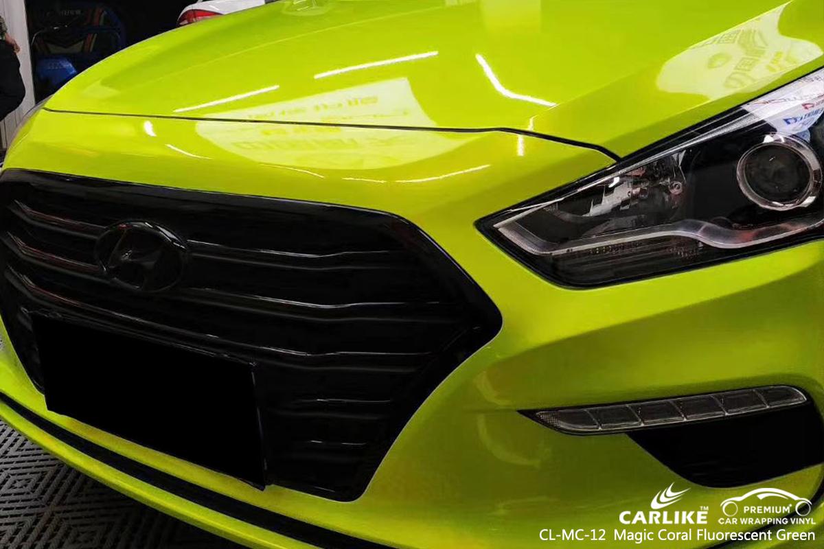 CL-MC-12 magic coral fluorescent green car vinyl wrap gloss for BEIJING HYUNDAI St. Barthélemy