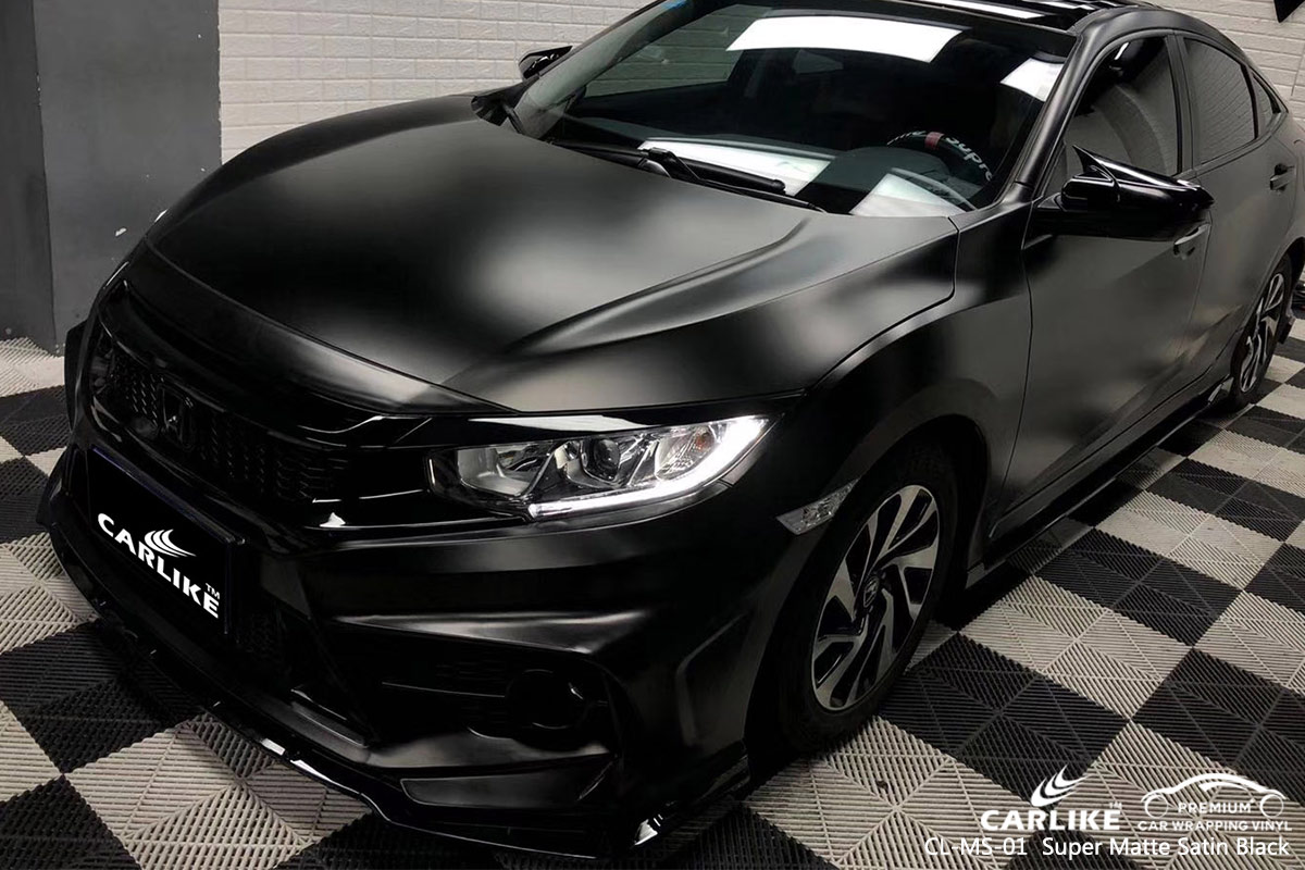 CL-MS-01 super matte satin black car wrap vinyl for HONDA