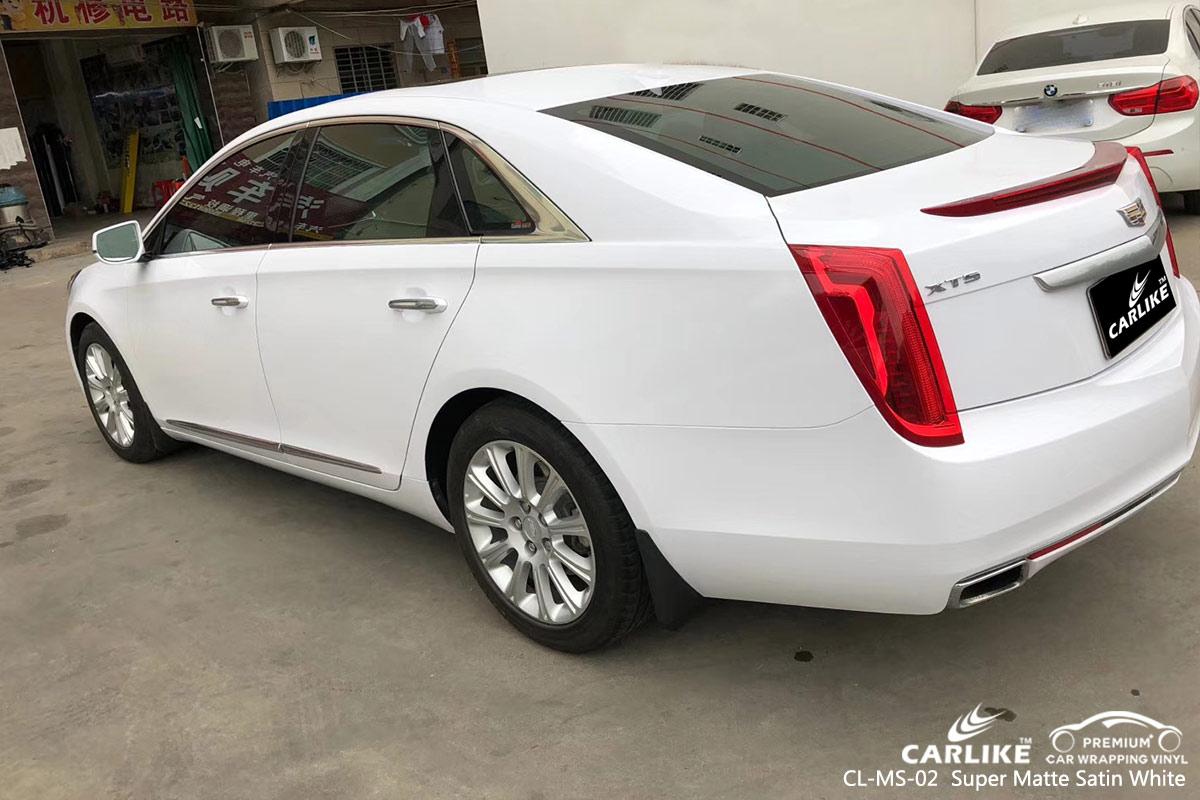 CL-MS-02 super matte satin white car wrap vinyl for CADILLAC