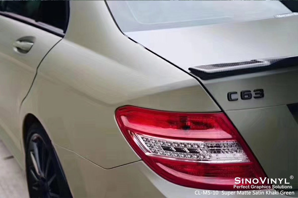 CL-MS-10 super matte satin khaki green car wrap vinyl for MERCEDES-BENZ