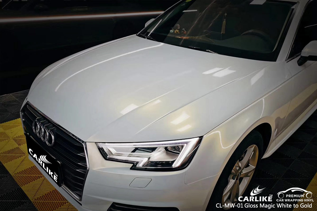 CL-MW-01 gloss magic white to gold body wrap car supplier for AUDI French Guiana