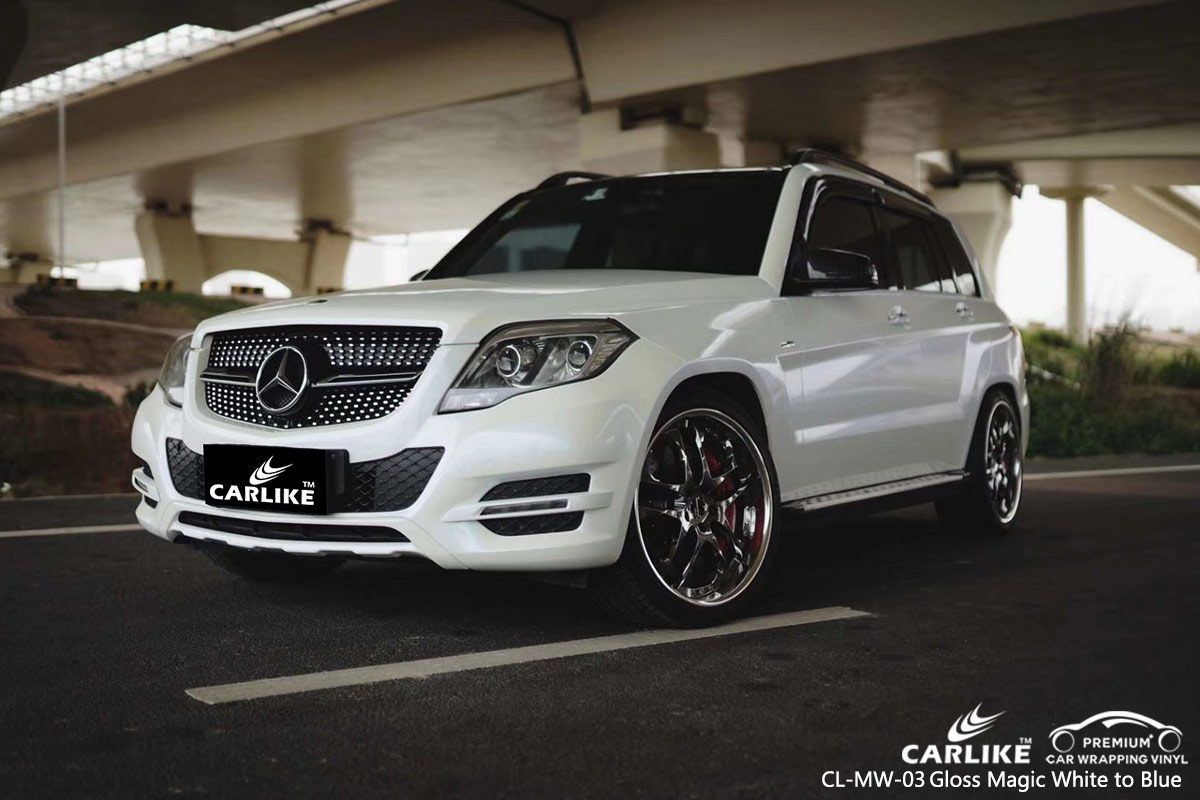 CL-MW-03 gloss magic white to blue car vinyl wrapping for MERCEDES-BENZ Micronesia
