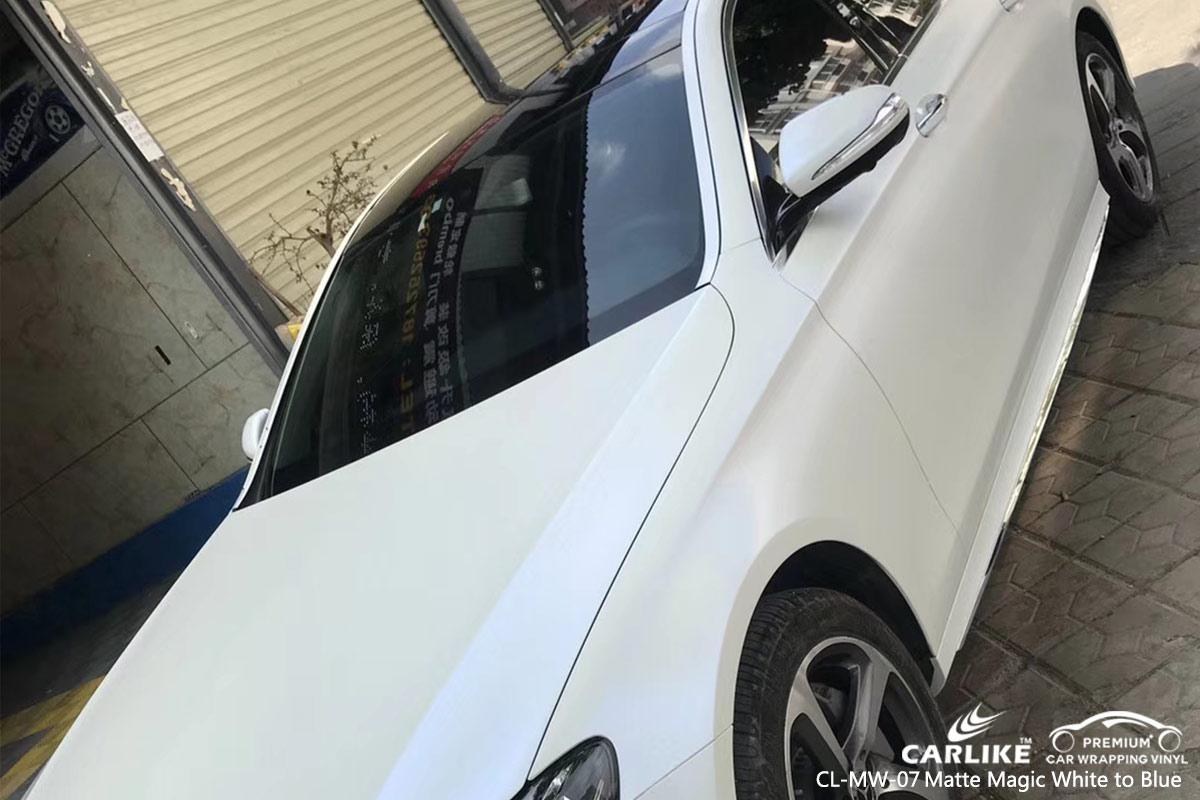 CL-MW-07 matte magic white to blue vinyl matte car wrap for MERCEDES-BENZ Nauru