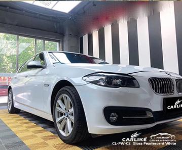 O vinil branco perolado CL-PW-02 envolve meu carro para a BMW Monaco