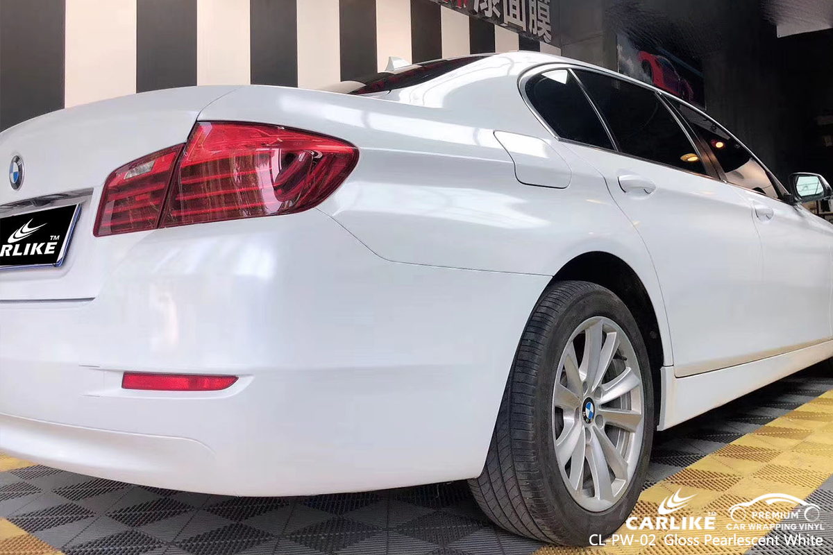 CL-PW-02 gloss pearlescent white vinyl wrap my car for BMW Monaco