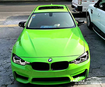 Fornecedores de material de vinil de carro verde de espelho cromado CL-SCM-08 para BMW Comores