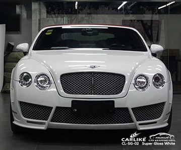 CL-SG-02 super brillante blanco auto envoltura auto brillo para BENTLEY Martinica