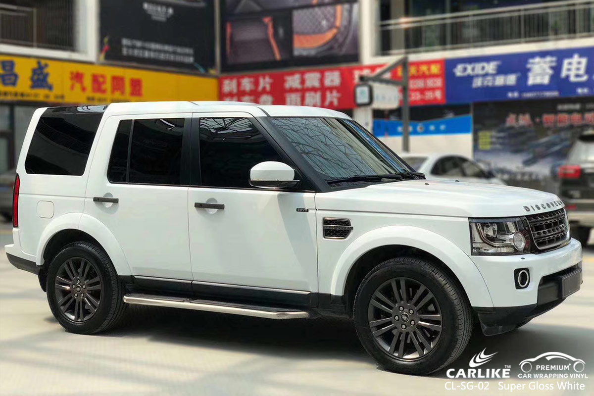 CL-SG-02 super gloss white car high gloss vinyl wrap for LAND ROVER Solomon Islands