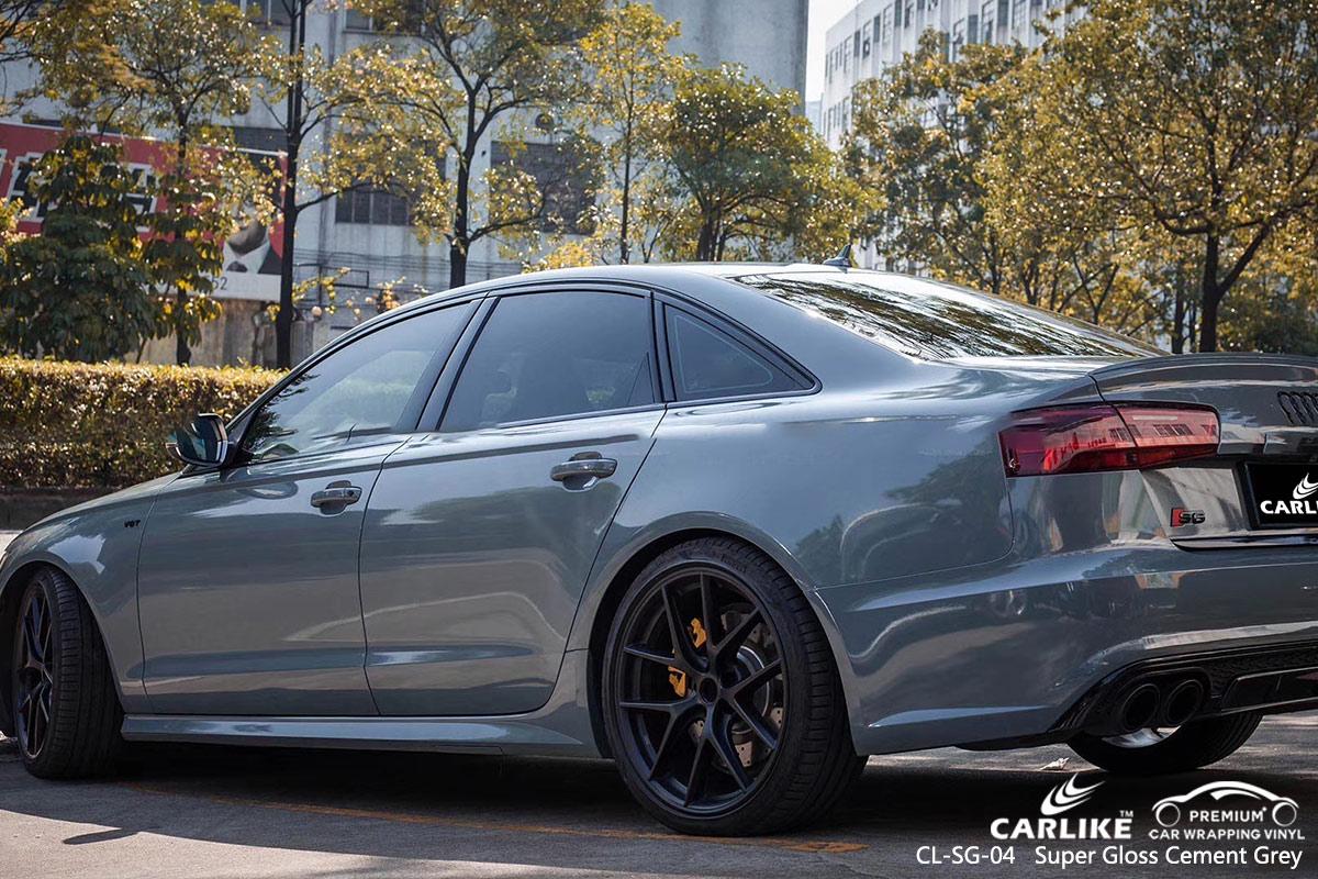 CL-SG-04 super gloss cement grey car wrap vinyl for AUDI